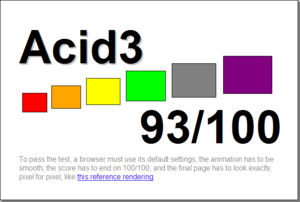 This is the result of running the Acid3 test o...