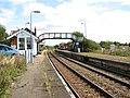 Acle railway station - signal box and footbridge - geograph.org.uk - 1477357.jpg