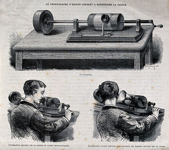 Acoustics: an Edison wax cylinder recorder. Wood engraving. (c) wikimedia.org, Wellcome Images