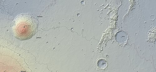 A topographic map showing the relative position of Adams Crater in the Elysium region of Mars