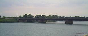 Il ponte sull'Adige che collega il comune di Rosolina a quello di Chioggia