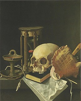 Adriaen Coorte - Vanitas Still Life with skull and hourglass.jpg