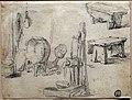 Adriaen van ostade (cerchia), schizzo di una fontanella, una tinozza e delle panche, 1630-80 ca.jpg