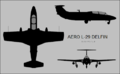 Aero L-29 Delfin three-view silhouette.png