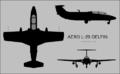Aero L-29 Delfin three-view silhouette.png