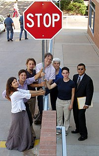 """The anti-war affinity group """"Collateral Damage"""" protesting the Iraq war"""