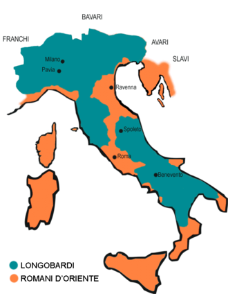 Exarchate of Ravenna - The Exarchate (orange) and the Lombards (gray) in 590.