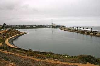 Agua Hedionda Lagoon - Western end, looking south towards the Encina Power Station