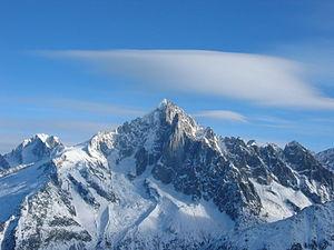 Aiguille Verte - The Aiguille Verte (centre) and the Aiguille d'Argentière (far left)