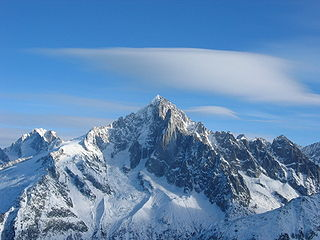Aiguille Verte mountain in the Mont Blanc massif in the Alps