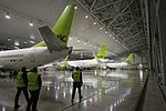 AirBaltic Bombardier CS300 mainenance (33221397935).jpg