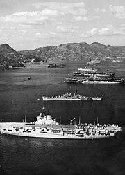 Aircraft carriers at Sasebo Japan 1950