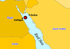 MS al-Salam Boccaccio 98 - The reported point where the ship was last observed by coastal radar