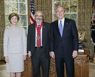 Alan Charles Kors - President George W. Bush (right) and Laura Bush (left) stand with 2005 National Humanities Medal recipient Alan Charles Kors (center).