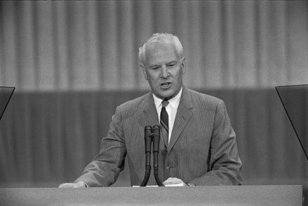 Albert Gore Sr. delivering a speech to the 1968 Democratic National Convention which the younger Gore helped him write Albert Gore Sr. speaking at the 1968 DNC.jpg