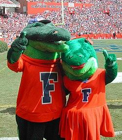 Florida's mascots, Albert and Alberta.