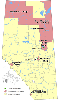 Locations of Alberta's specialized municipalities