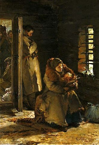 Forced displacement - Deportees to Siberia by Kazimierz Alchimowicz (1894), National Museum in Warsaw, illustrating the torment of Polish Siberian deportees, patriots from the Russian zone of partitioned Poland in the period following the collapse of the January Uprising.