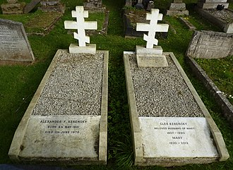 Alexander Kerensky - The graves of Alexander Kerensky and of his son and wife at Putney Vale Cemetery, London, 2014