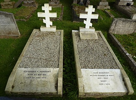 The graves of Alexander Kerensky and of his son and wife at Putney Vale Cemetery, London, 2014 Alexander Kerensky grave Putney Vale 2014.jpg