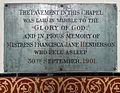 All Saints Church Farley, Wiltshire, England - Francisca Henderson memorial.jpg