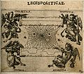 Allegorical figures hold up two scrolls, separated by a spid Wellcome V0007641ETL.jpg