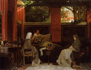 Holy Cross Abbey (Poitiers) - Venantius Fortunatus reading his poems to Radegund by Lawrence Alma-Tadema (1862).
