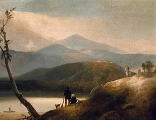 Lake in the Mountains with Hunters
