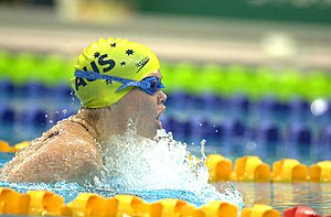 2000 Summer Paralympics medal table - Australian swimmer Amanda Fraser competes in the S7 200IM at the Sydney 2000 Paralympic Games.  She went on to win two bronze medals.