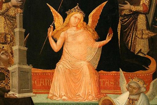 Ambrogio Lorenzetti, Maestà di Massa Marittima (particolare della carità), 1335 ca., Museo di Arte Sacra, Massa Marittima