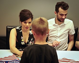 """Jay Baruchel - America Ferrara and Jay Baruchel, voices of characters in the new movie """"How to Train Your Dragon 2"""", sign autographs during a USO tour June 4, 2014, at Joint Base McGuire-Dix-Lakehurst."""