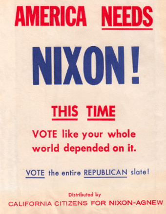 Text on automobile trash bag given away by the Nixon campaign in California, 1968 America needs Nixon.png