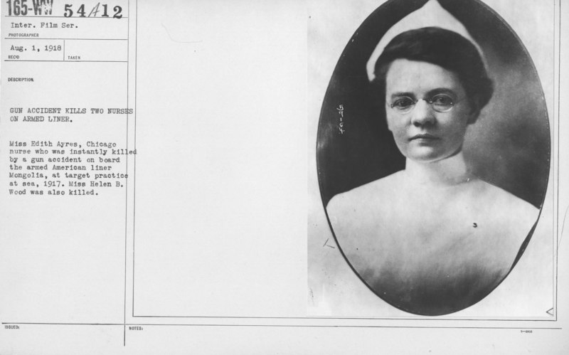 American Red Cross - A thru D - Gun accident kills two nurses on armed liner. Miss Edith Ayres, Chicago nurse who was instanly killed by a gun accident on board the armed American liner Mongolia, at target practi(...) - NARA - 20805872
