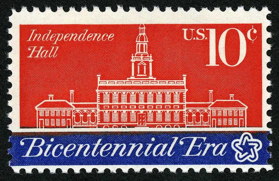 American Revolution Bicentennial Independence Hall 10c 1974 issue U.S. stamp