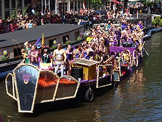 One of the decorated boats participating in the 2013 Canal Parade of the Amsterdam Gay Pride Amsterdam Gay Pride 2013 boat no37 Hot Spot Cafe pic7.JPG