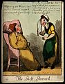 An ill man in cap and gown with a crying woman before him. C Wellcome V0010884.jpg
