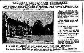 Anglesey Abbey - Advertisement for sale of Anglesey Abbey in 1926.