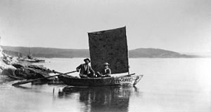 Yellowstone Lake - A July 28, 1871 photo of Annie, the boat used by the Hayden Geological Survey of 1871