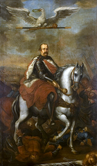 Allegorical portrait of Jerzy Sebastian Lubomirski on horseback.
