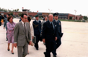 António Ramalho Eanes - António Ramalho Eanes (left), while president, departs after a state visit to the United States. Secretary of State George Shultz is on the right. (USAF)