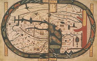 Beatus map - Image: Apocalypse St Sever Folios 45v 46r World Map