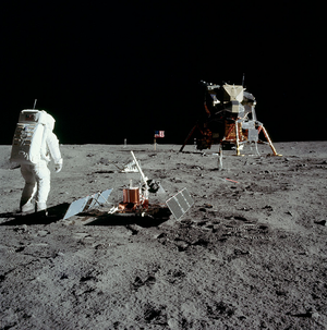 Aldrin stands next to the Passive Seismic Expe...