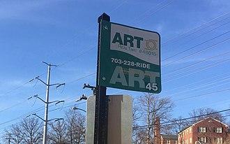 Arlington Transit - An Arlington Transit Bus Stop Sign at South Four Mile Run Drive.