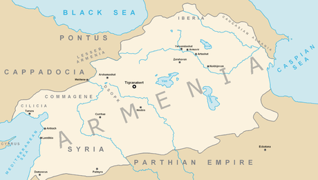 The Kingdom of Armenia at its greatest extent under Tigranes the Great (95-55 BCE) Armenian Empire.png