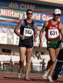 Army Sgt. John Nunn speed walks during the Military World Games competition in Hyderabad.JPG