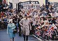 Arrival at City Square, Hull, HRH Prince Philip and The Lady Mayoress Mrs E Kirkwood 13th July 1977 (archive ref CCHU-4-1-9-2) (25954909403).jpg