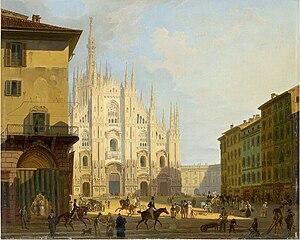 Art collection of Fondazione Cariplo - Giovanni Migliara, View of piazza del Duomo in Milan