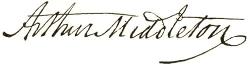 Arthur Middleton signature