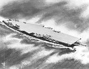Artist's impression of the US Navy aircraft carrier USS United States (CVA-58) in October 1948