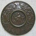 Artista del nord-italia influenzato da fonduli e moderno, guerriero seduto con l'armatura e bordo di trofei, 1505-10 circa.JPG